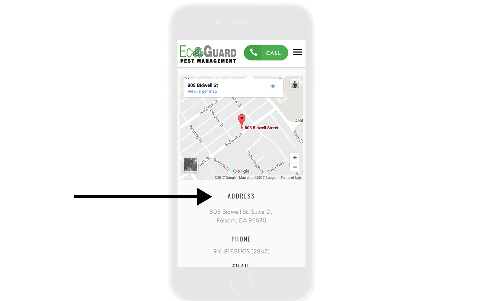 EcoGuard Mobile NAP Contact Page