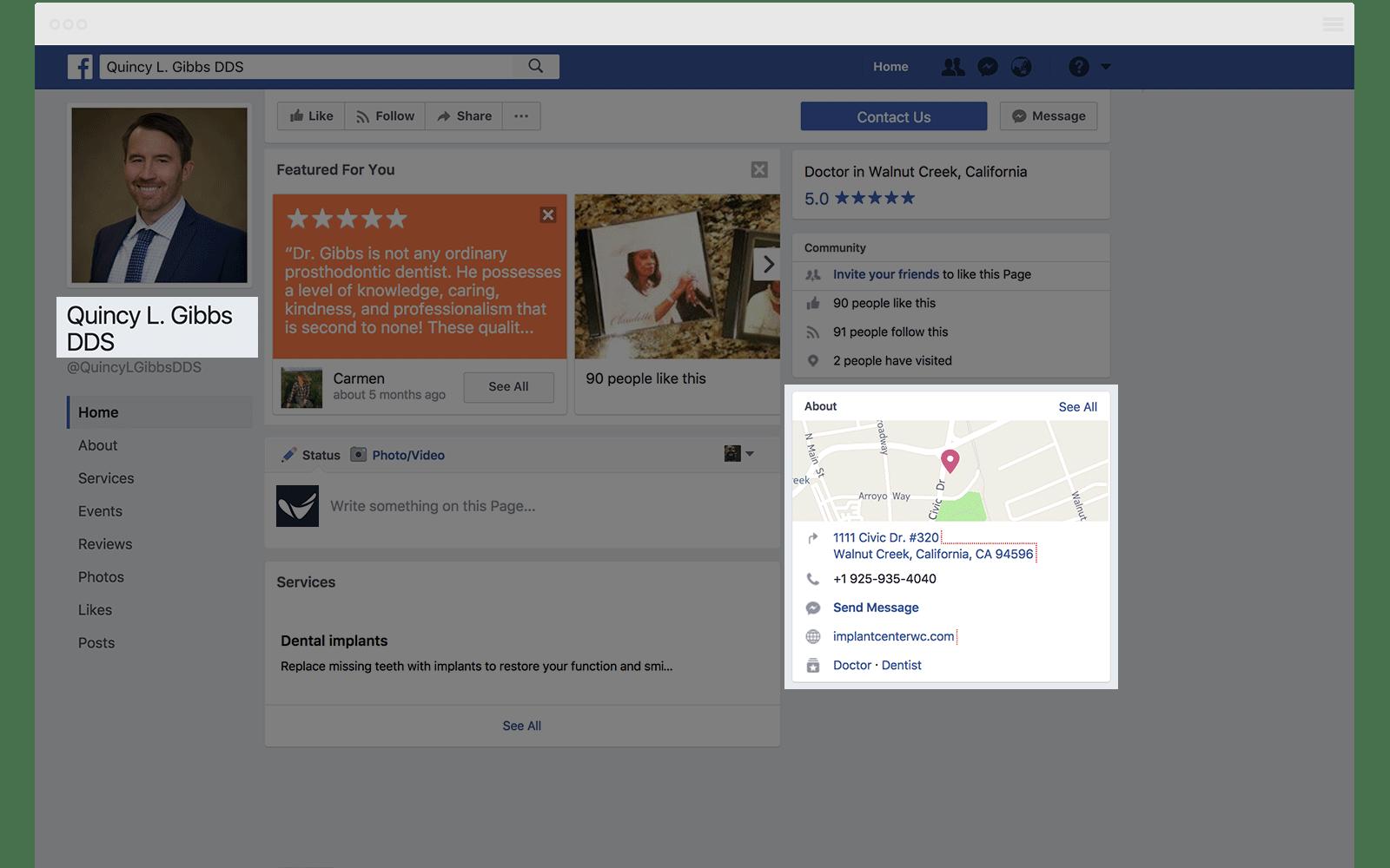 Facebook Local SEO Citation Quincy Gibbs