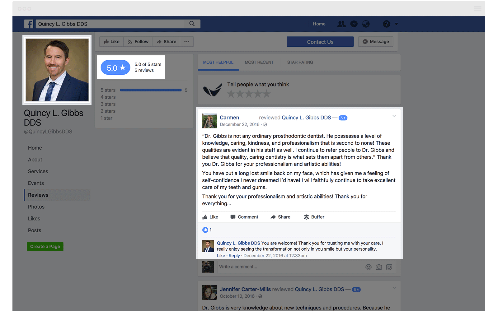 Facebook Reviews Quincy Gibbs DDS