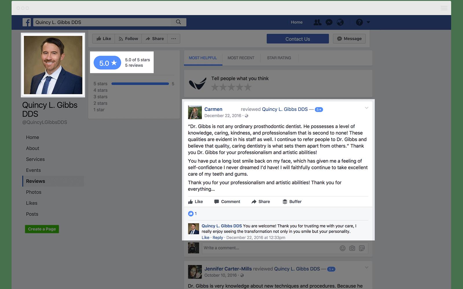 Facebook Reviews Quincy Gibbs DDS