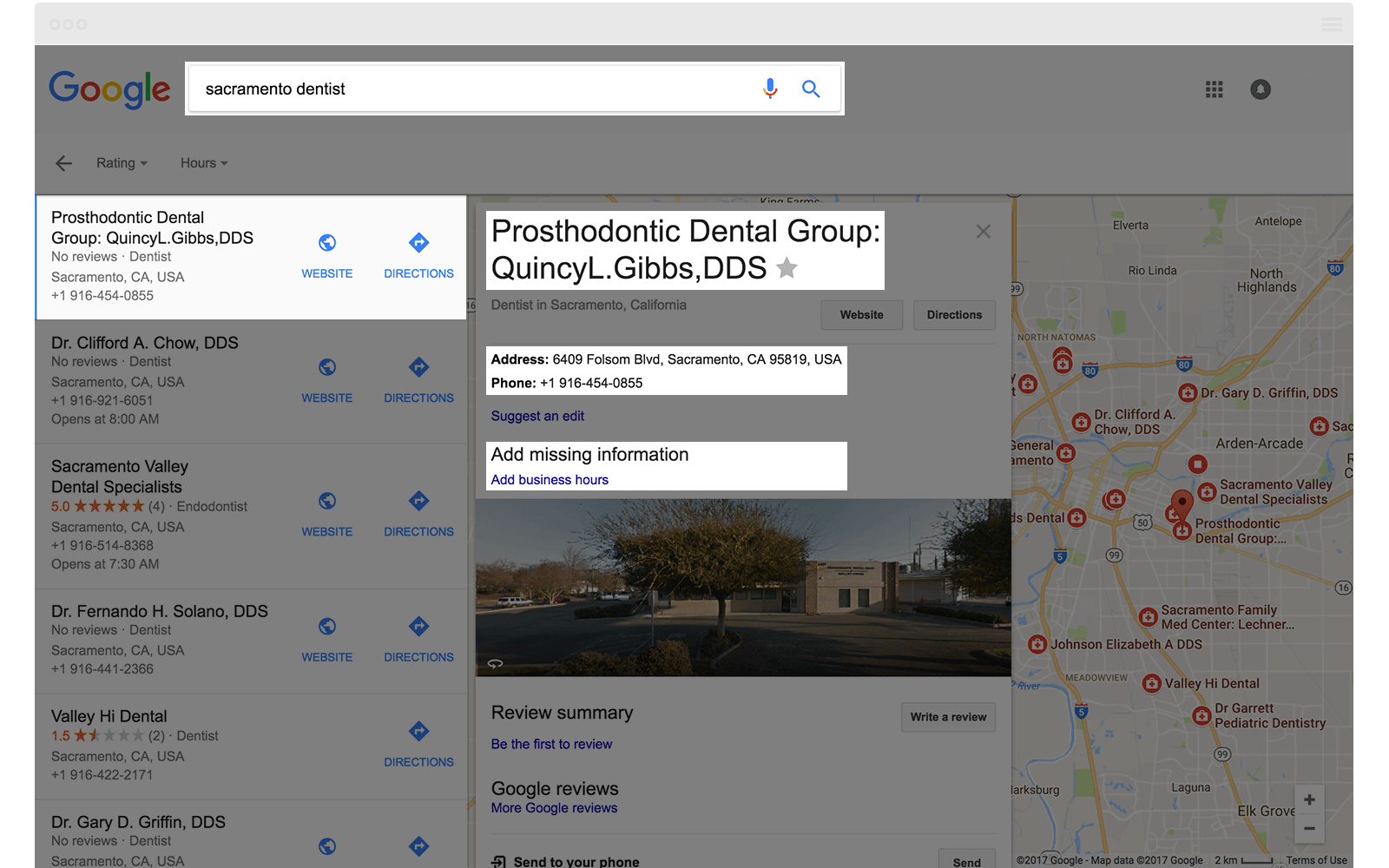 Google Local Finder Sacramento Dentist