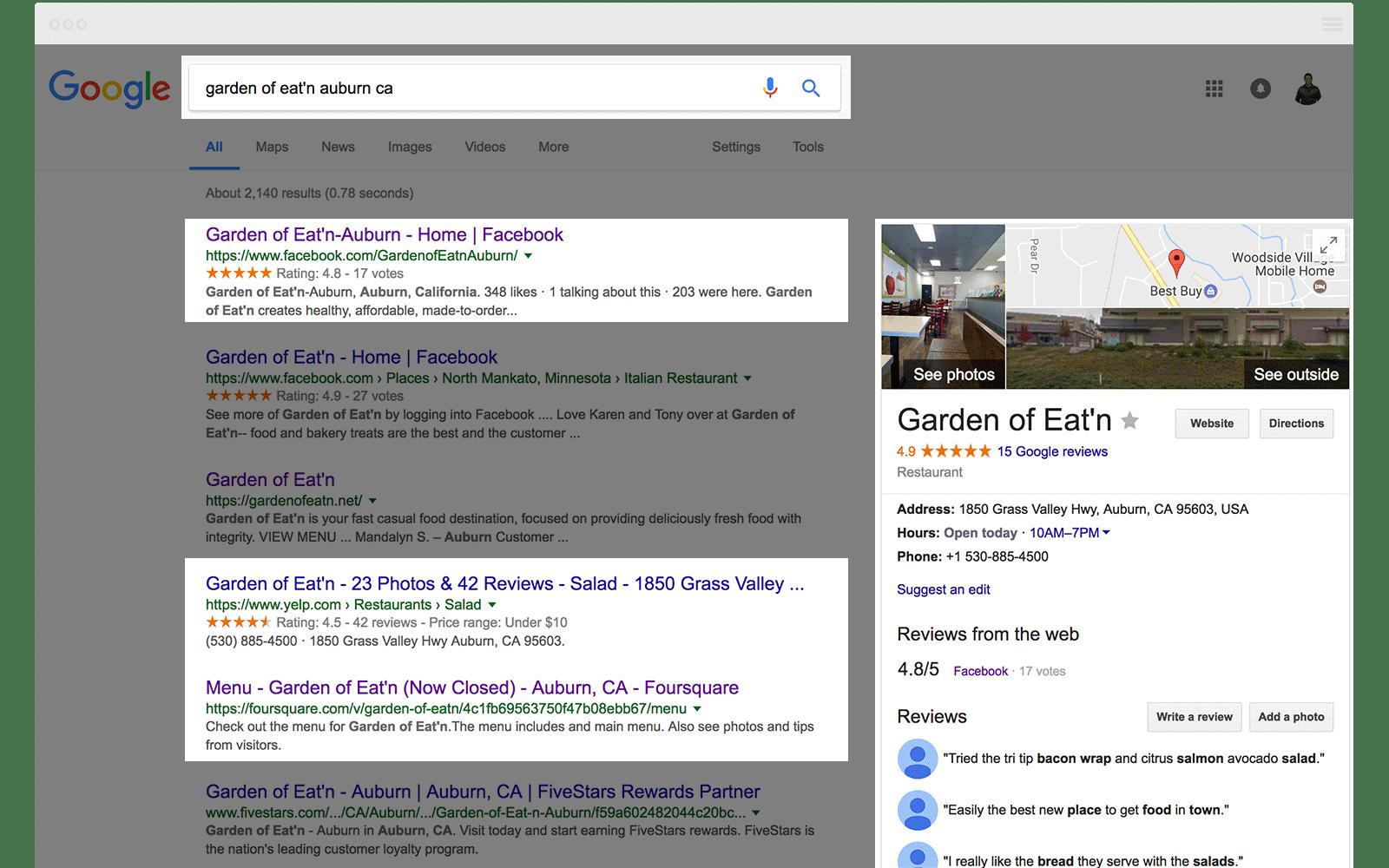 Google SERP Restaurant Auburn