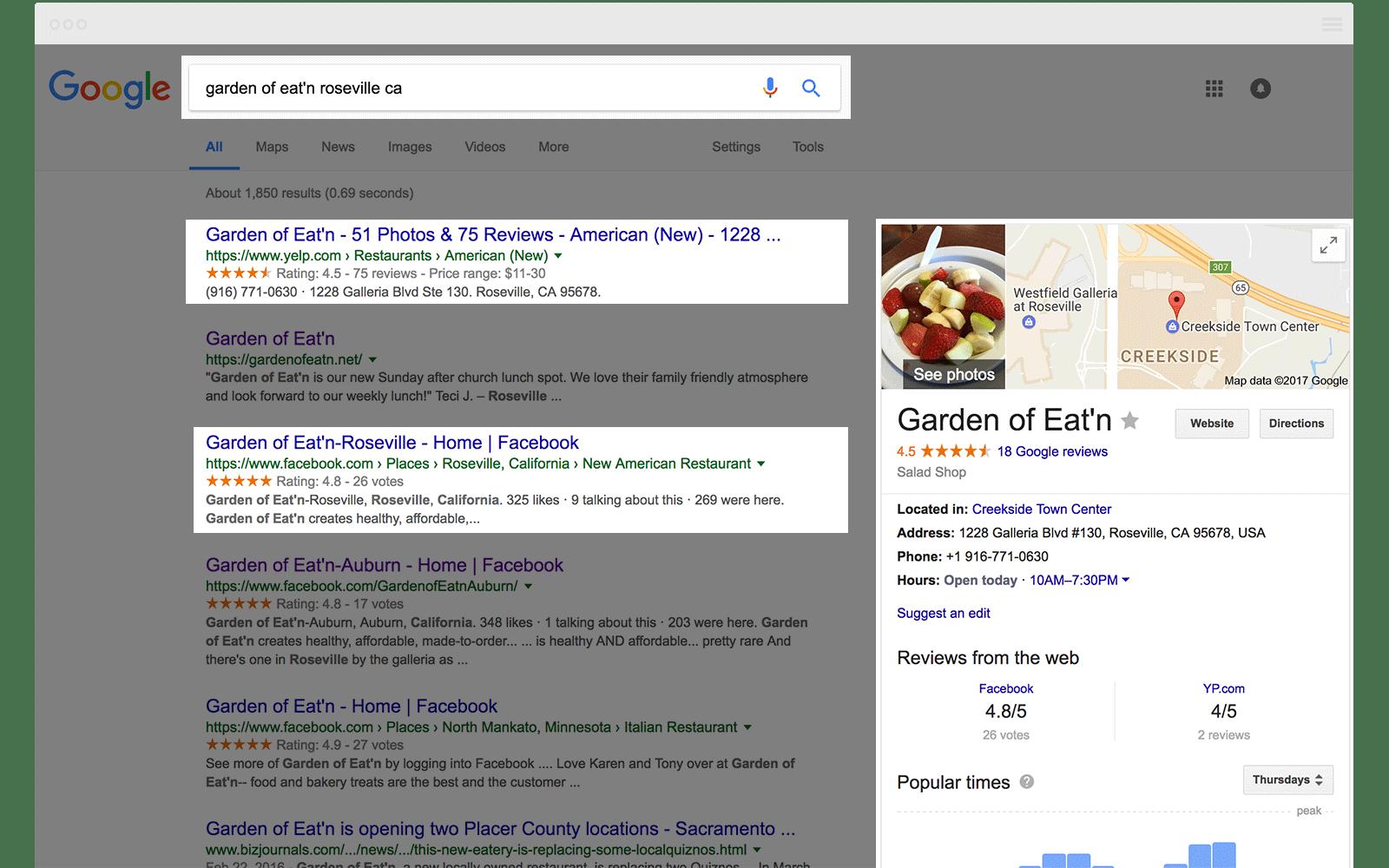 Google SERP Restaurant Roseville