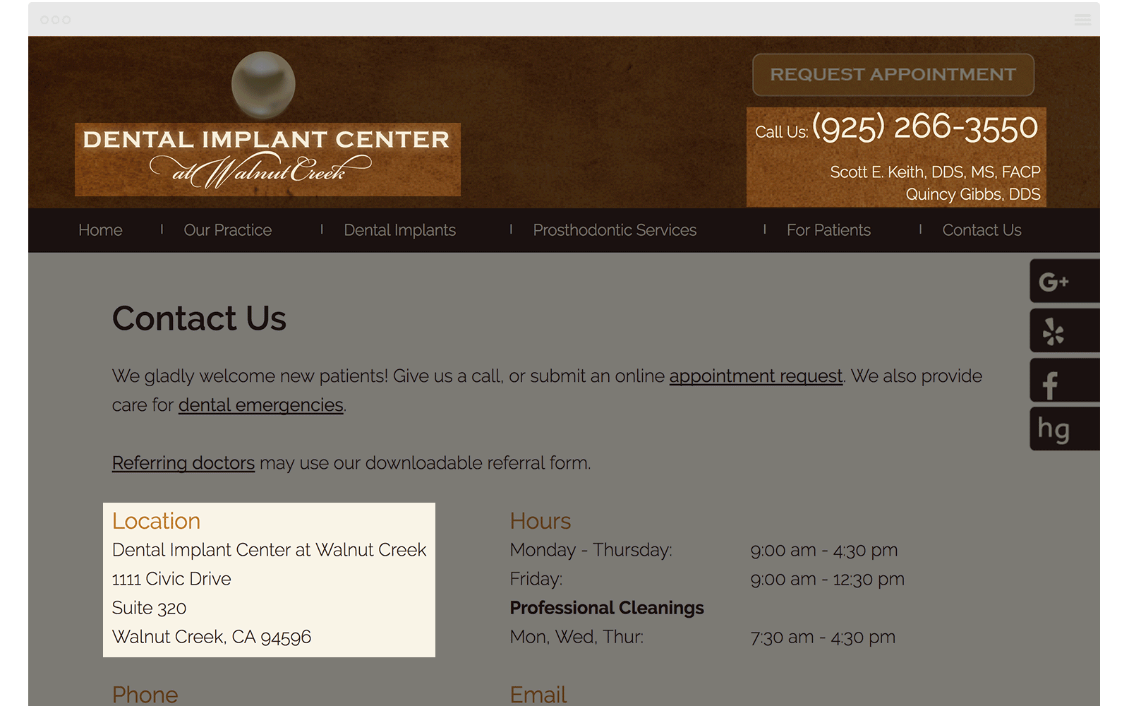 NAPW Implant Center Website